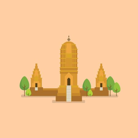 Historical ancient temple world heritage. Vector illustration
