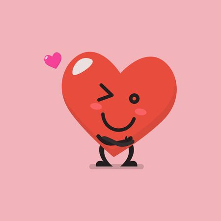 Charming heart character emoji. Funny cartoon emoticon