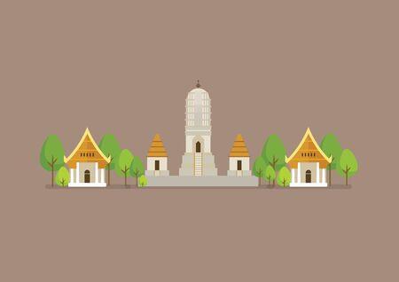 Historical ancient white temple vector illustration. world heritage. 일러스트