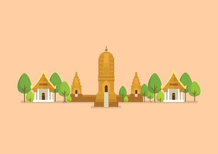 Historical ancient temple vector illustration.