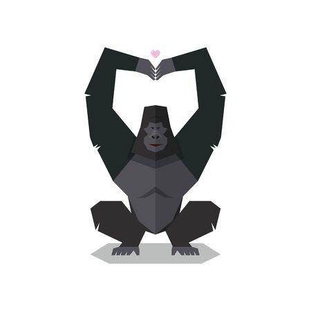 Gorilla pose hands in shape of heart. Vector illustration Ilustração