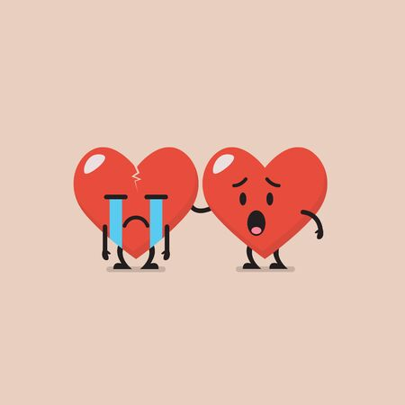 Worried heart is soothing crying heart. Funny cartoon emoticon Illustration