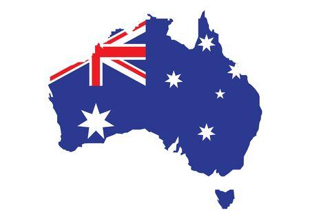 Flag of Australia placed over an outline map of Australia. Vector illustration
