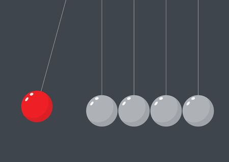 Red sphere hanging on threads hitting another pendulum group. Leadership power and uniqueness concept. Vector illustration