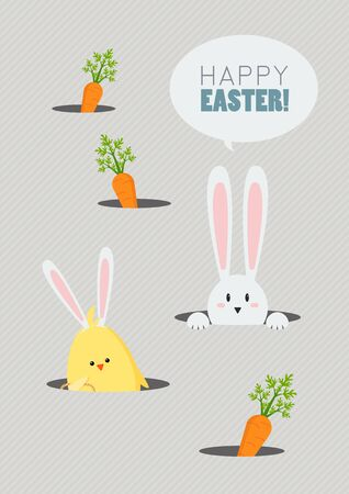 Happy Easter Greeting Card Cute Cartoon. Easter greeting card
