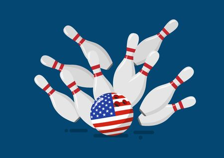 Bowling ball with the United State flag breaks bowling pins. Financial crisis vector illustration Illustration