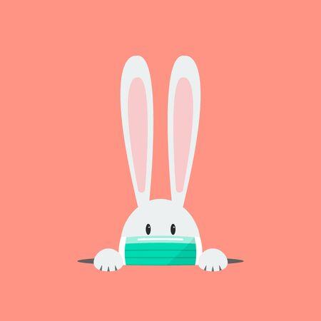 Weißes Kaninchen, das eine Schutzmaske trägt. Coronavirus-Konzept Vektor-Illustration