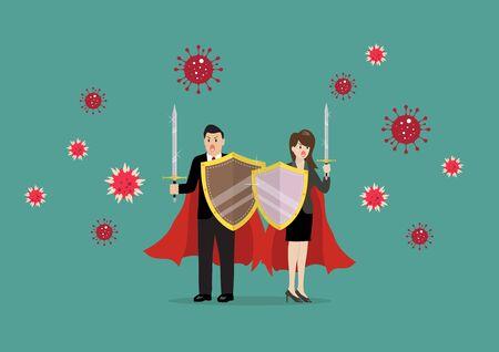 Man and woman with shield sword prepare to fighting coronavirus. Vector Illustration