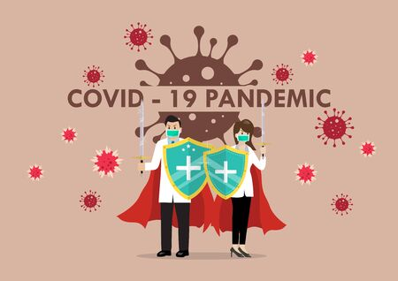 Doctors with shield sword prepare to fighting coronavirus poster. 2019 Novel Coronavirus (2019-nCoV) concept.