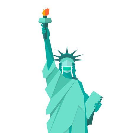 Statue of liberty wearing protective medical mask. coronavirus concept