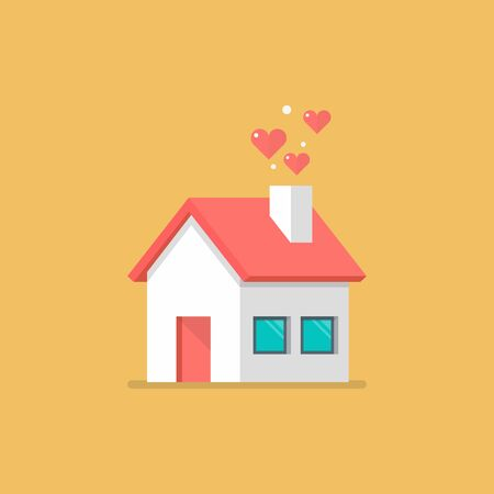 House icon with hearts. flat style vector illustration