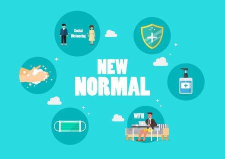 New normal lifestyle icons concept. After the Coronavirus or Covid-19 causing the way of life of humans to change to new normal. vector illustration