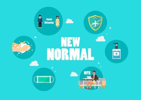 Nouveau concept d'icônes de mode de vie normal. Après le Coronavirus ou Covid-19 provoquant le changement du mode de vie des humains vers une nouvelle normalité. illustration vectorielle