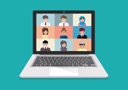 Video conference on laptop. Coronavirus, quarantine isolation. Vector illustration