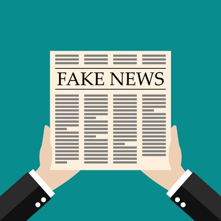 Hands holding fake news newspaper flat style. Vector illustration