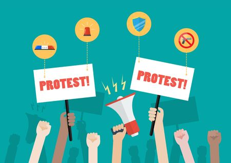 Crowd of people protesters with security icons. Vector illustration