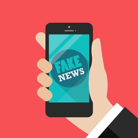 Fake news word on smartphone. Vector illustration