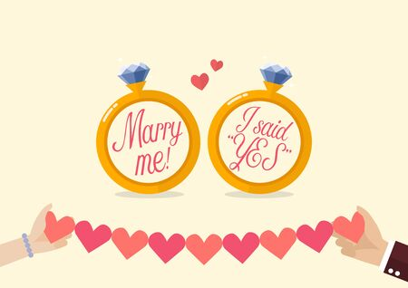 Marry me and I said yes with hands holding line paper of hearts. Two diamond ring wedding concept Vektoros illusztráció