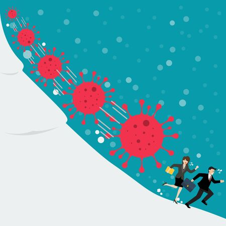 Business man and woman running away from Covid 19 virus. Vector ilustration