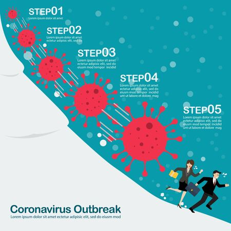 Business man and woman running away from snowball effect. Business concept infographic Ilustracja