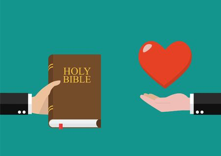 Man give holy bible to others and receive love back. Vector illustration Vettoriali