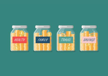 Jars money management. Coins in glass jars with labeled savings. Vector illustration.