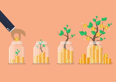 Step of Hand saving coins in glass jars with money trees. Flat style. Vector illustration 矢量图像