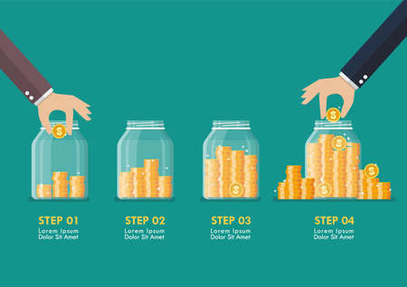 Step of Hand saving coins in glass jars infographic. Flat style. Vector illustration Vettoriali