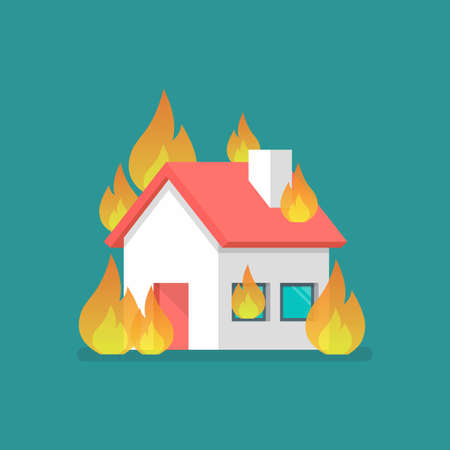 Burning house in flat style. Vector illustration