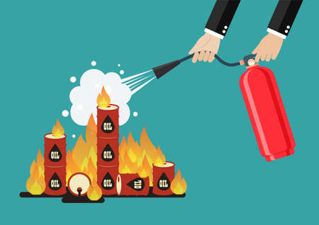 Businessman with fire extinguisher is fighting with the burning oil barrel. Economic concept. Vector illustration 向量圖像