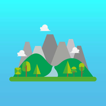 Forest and mountain landscape in flat style. Vector illustration