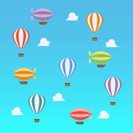 Airships and hot ait balloon flying on blue sky. Vector illustration. Transportation concept