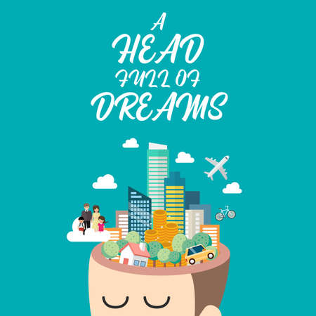 Man with a head full of dreams. Vector illustration