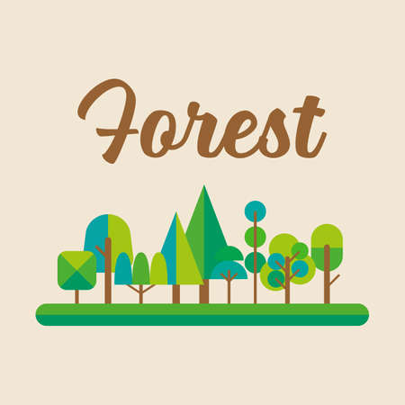 Forest in flat style graphic design. Vector illustration
