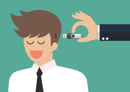 Hand holding usb flash drive to connect other businessman head. Vector illustration 向量圖像
