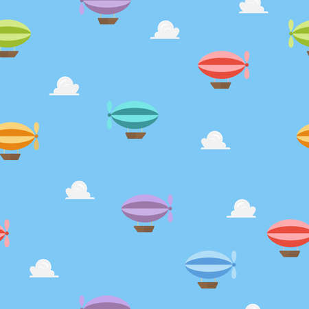 Airships flying on blue sky seamless pattern. Vector illustration. 向量圖像