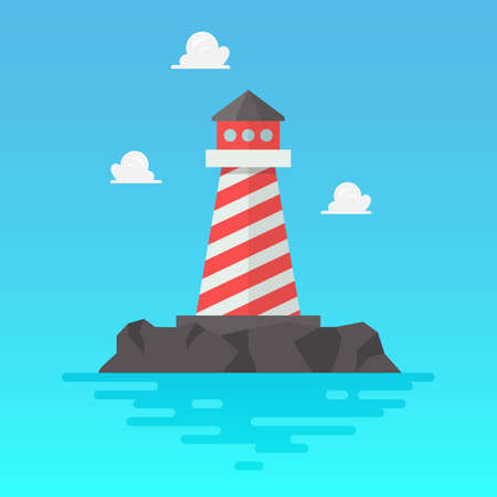 Lighthouse in flat style. Vector illustration 向量圖像