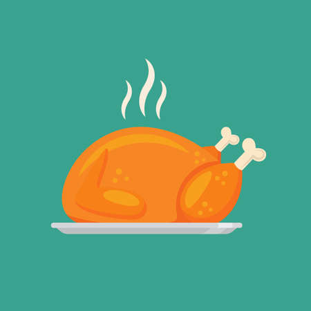 Fried chicken or turkey in flat style design. Vector illustration 矢量图像