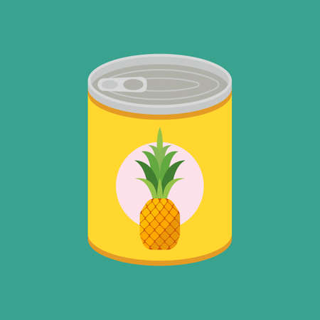 Canned pineapple in flat style. 向量圖像
