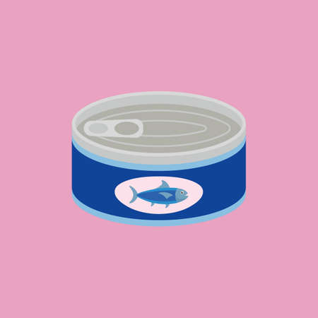 Canned tuna in flat style. Vector illustration 向量圖像