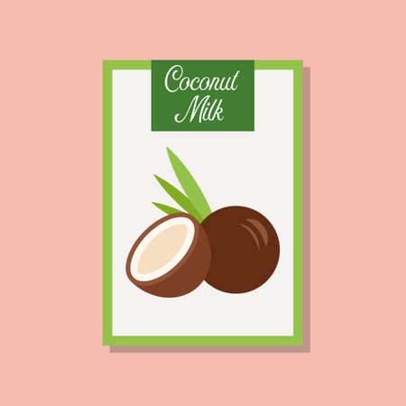 Coconut milk icon in flat style.