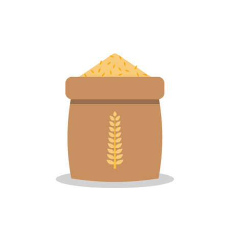 Rice sack icon in flat style. Vector illustration