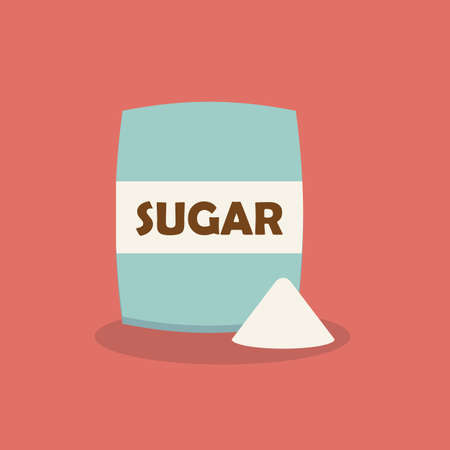 Sugar in package icon in flat style. Vector illustration