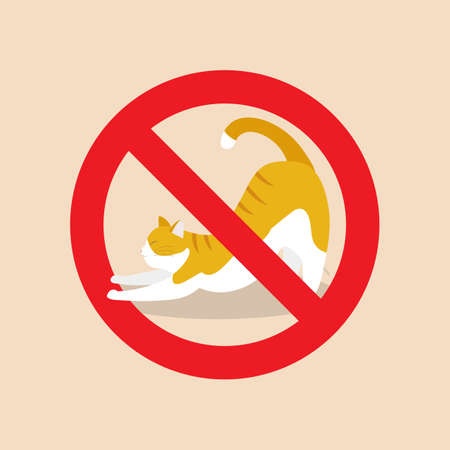 No cat allowed sign. red prohibition sign. vector illustration 向量圖像