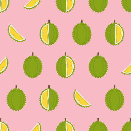 Durian with cut pieces seamless pattern. Vector illustration 向量圖像