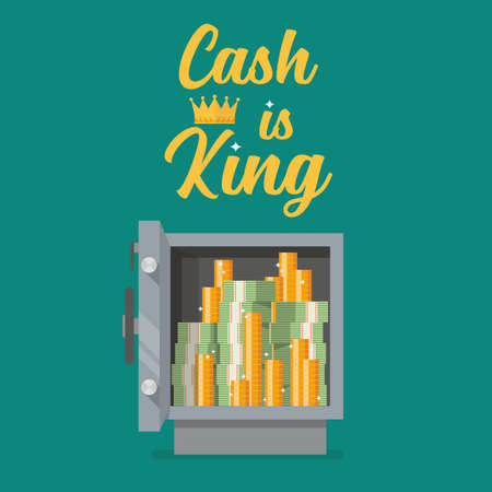 Safe full of money with text cash is king. Vector illustration