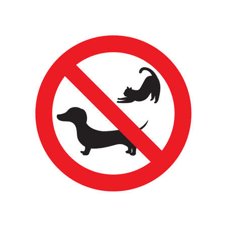 No pets sign. red prohibition sign. vector illustration. 向量圖像
