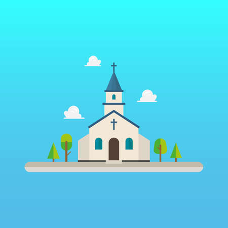 Church in flat style design. Vector illustration 向量圖像