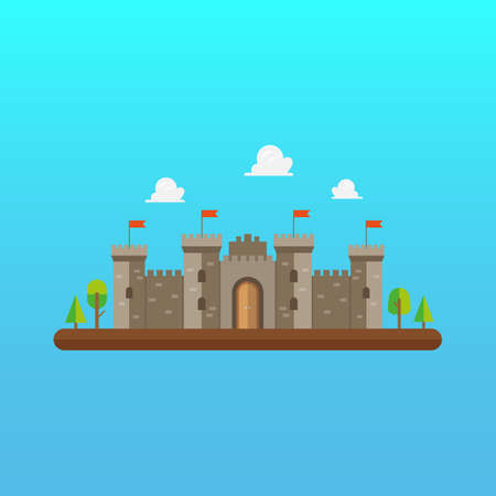 Castle tower architecture in flat style design. Vector illustration