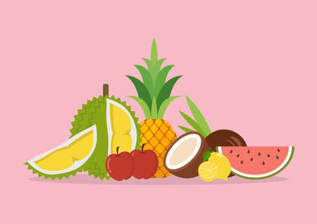 Seasonal organic exotic fruits. Assortment of exotic fruits isolated on pink background. Vector illustration